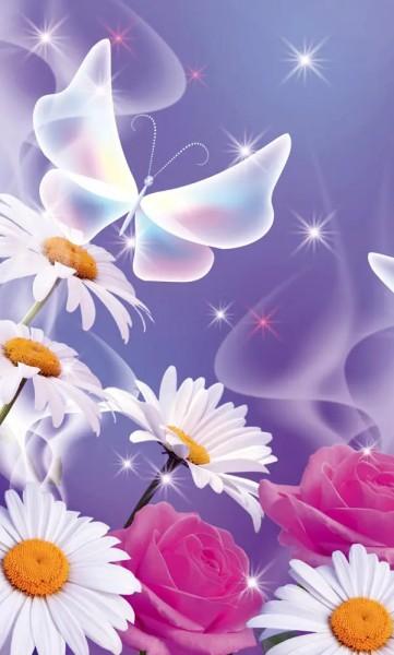 Vlies Fototapete Blüten Schmetterling 150x250