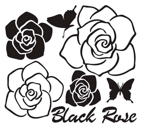 Wandtattoo Schwarze Rose