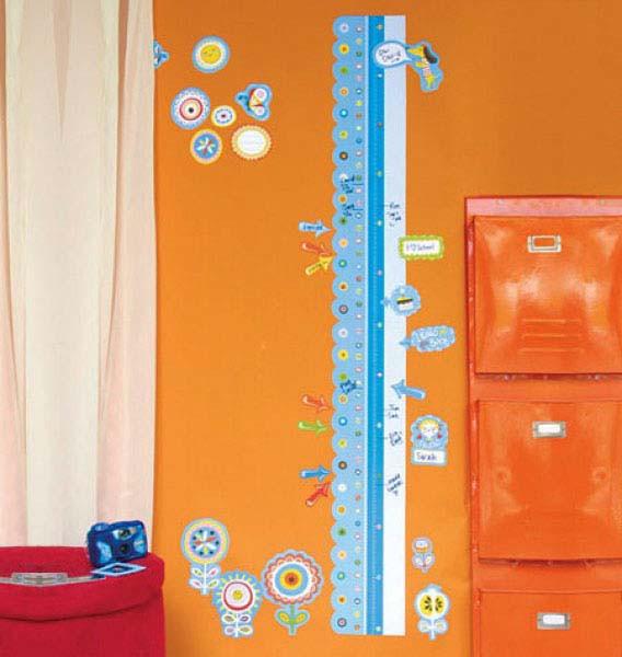 Wandsticker Messlatte mit Marker abwischbar Kinderzimmer