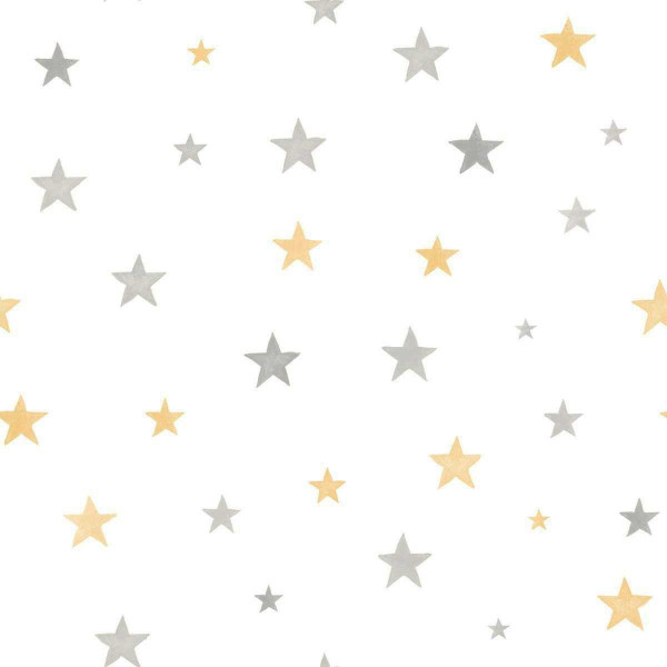 Vlies Ökotapete Sterne gelb