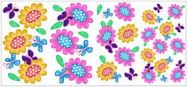Wandtattoo Schmetterlinge Blumen