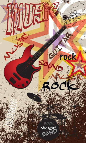 Vlies Fototapete Red Guitar Rock 150x250