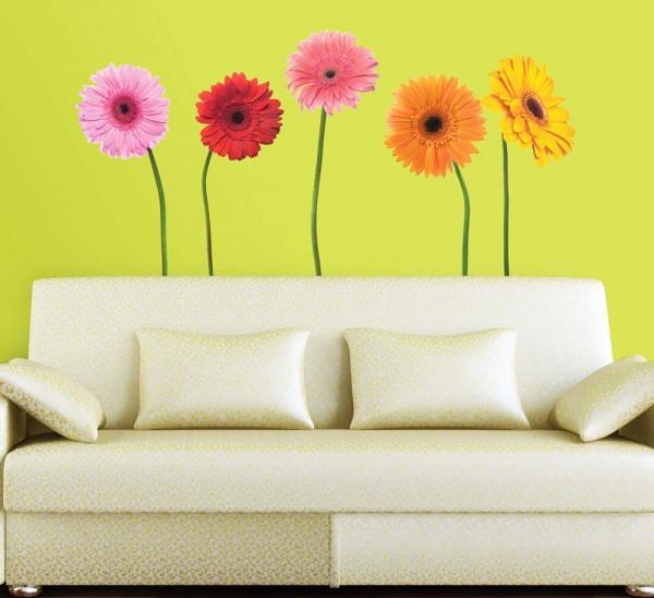 Wandsticker Gerbera Blumen Wohnzimmer