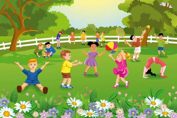 Vliestapete Kinder im Garten 375x250