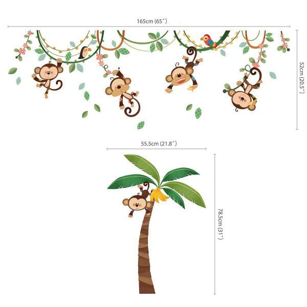 Wandsticker Messlatte Affen an der Liane Maße