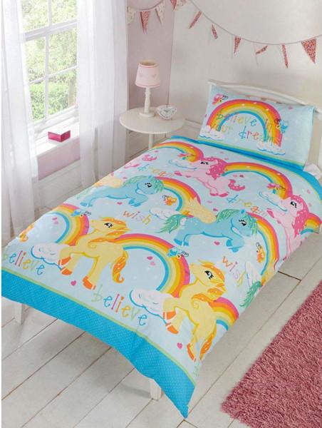 Kinder Bettwäsche Regenbogen Einhorn