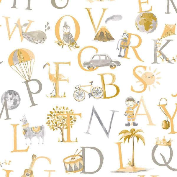Vlies Ökotapete Alphabet gelb