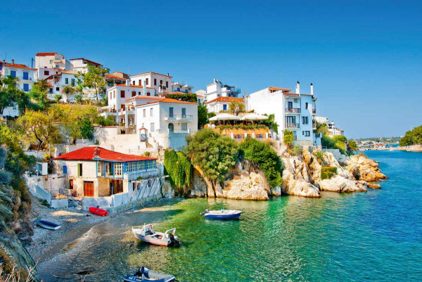 Vliestapete griechische Mittelmeerküste 375x250