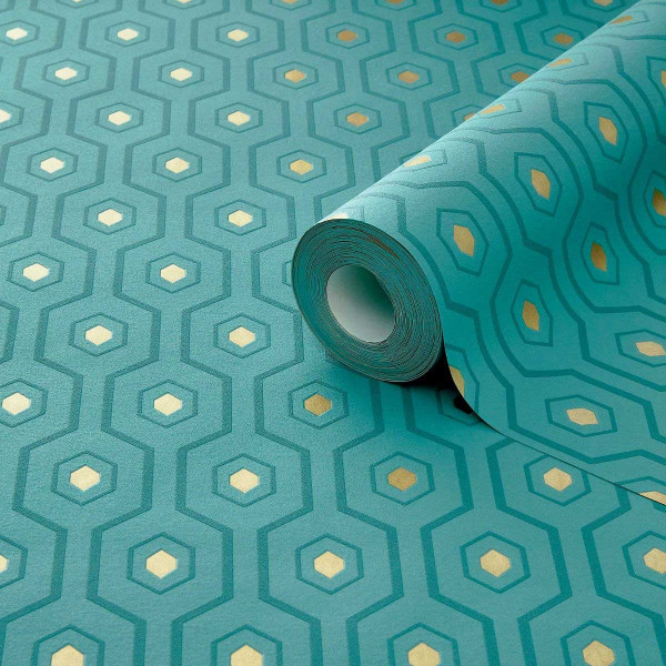 Vliestapete Geometrie Muster grün gold