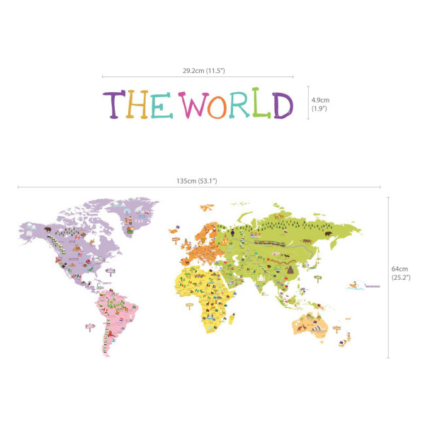 Wandsticker Landkarte Weltmeere Maße