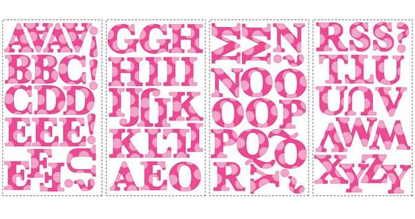Wandsticker Wandtattoo pink Alphabet RoomMates