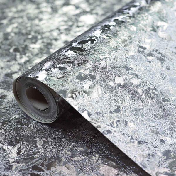 Vinyl Tapetenrolle Samt Struktur silber