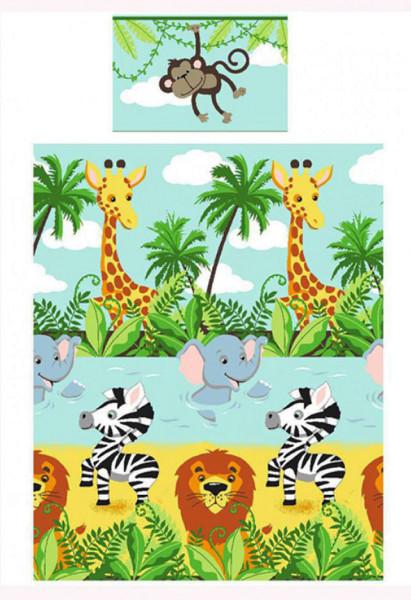 Kinderzimmer Bettwäsche Dschungeltiere Löwe Zebra