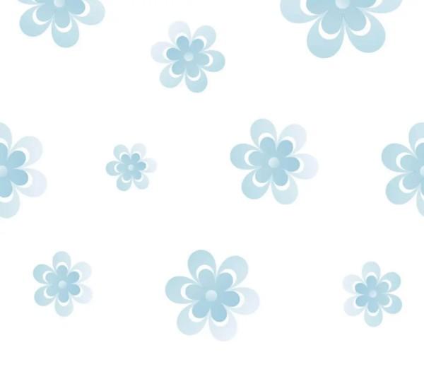 Vliestapete 3D-Optik Retro Flower blau