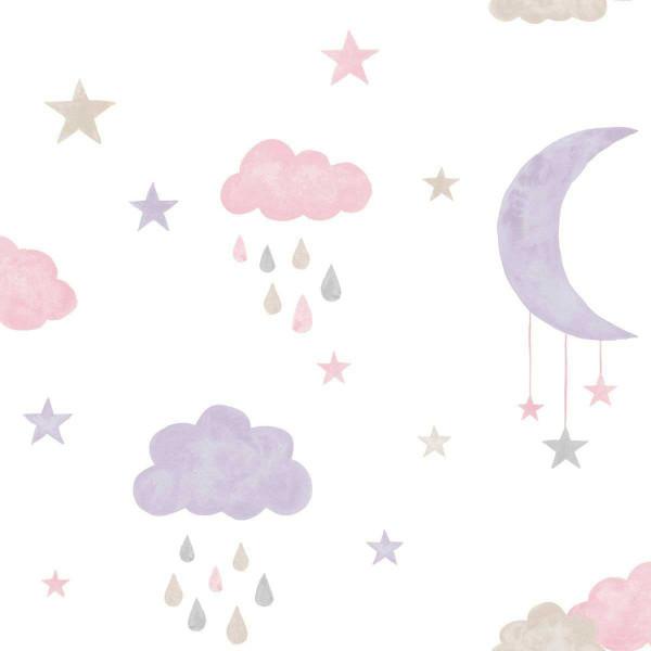 Vlies Ökotapete Wolken Mond pink