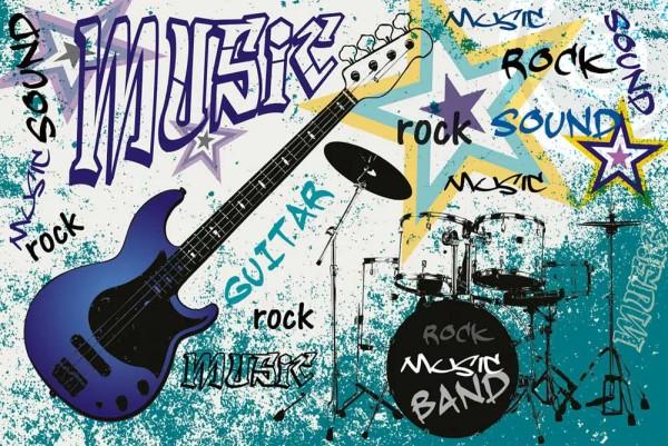 Vliestapete Blue Guitar Rock 375x250