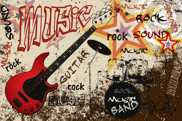 Vliestapete Red Guitar Rock 375x250