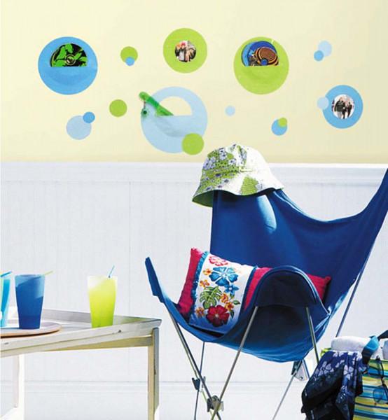 Wandsticker Wandtaschen blau grün Kindergarten