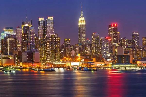 Vliestapete Manhattan bei Nacht 375x250