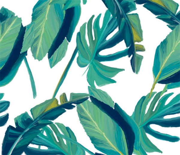 Vliestapete 3D-Optik Tropical grün