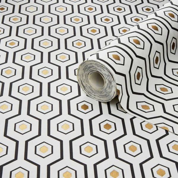 Vliestapete Geometrie Muster weiß gold