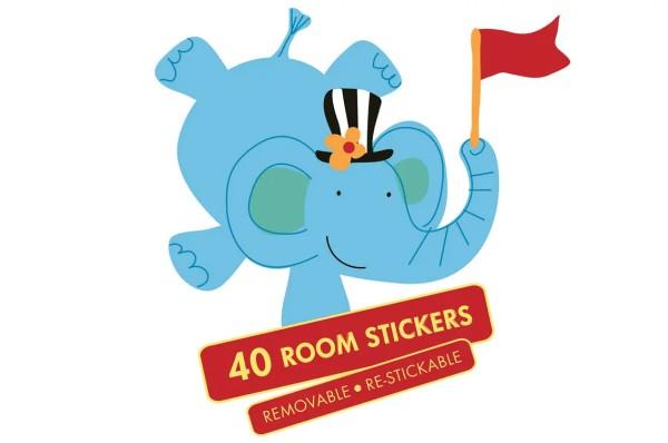 Wandsticker Koffer Mister Giggles Zirkus Elefant