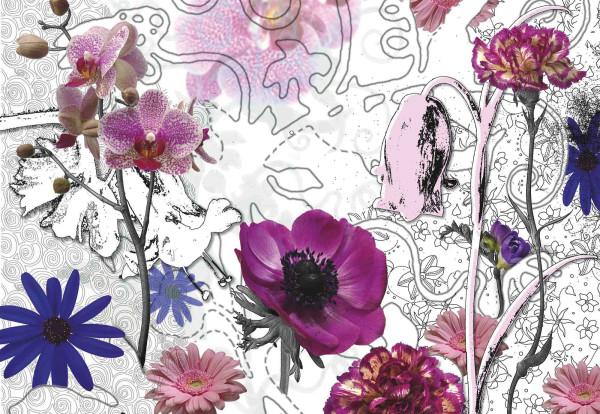 Fototapete Blüten in Purpur