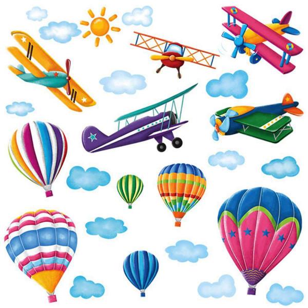 Wandsticker Flugzeuge Heißluftballons