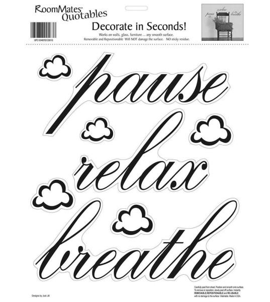 Wandsticker Wandworte Pause Relax Breathe