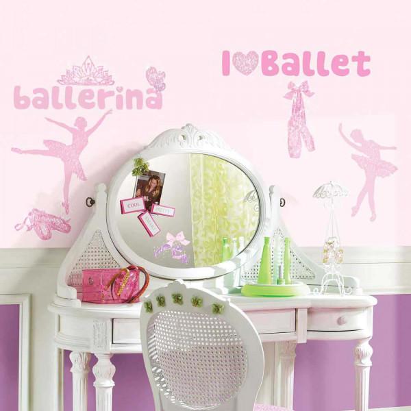 Wandsticker Ballett Primaballerina Glitter