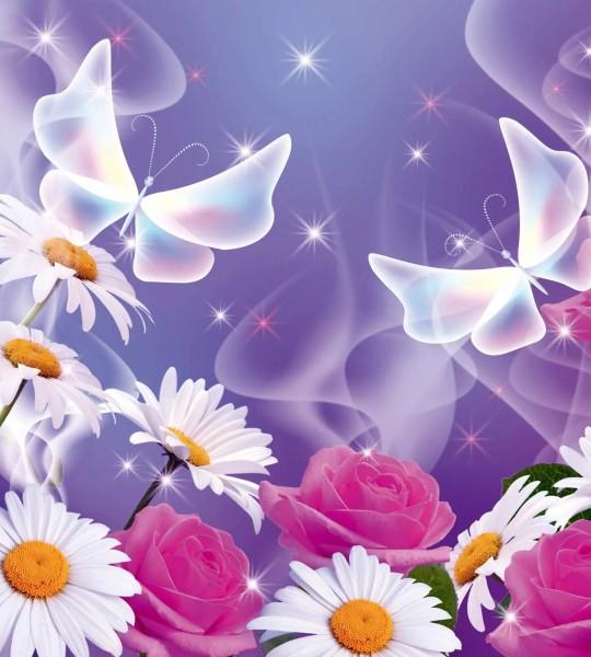 Vliestapete Blüten Schmetterling 225x250