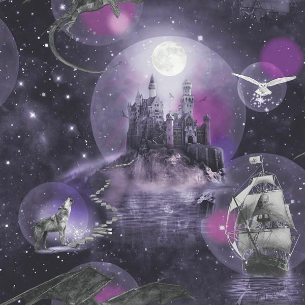 Tapete Märchenschloß Glitter purpur
