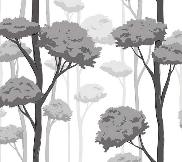 Fensterfolie selbstklebend grauer Herbstwald Frost