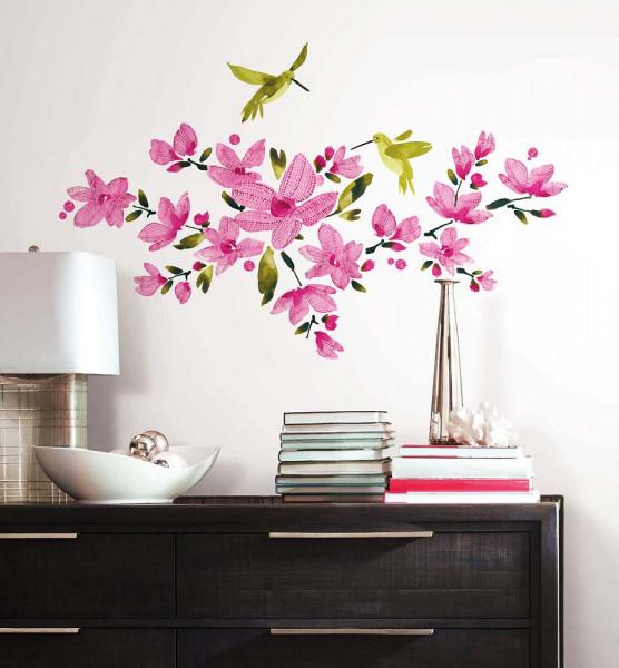 Wandsticker Kolibri Blüten Weinranken Flur