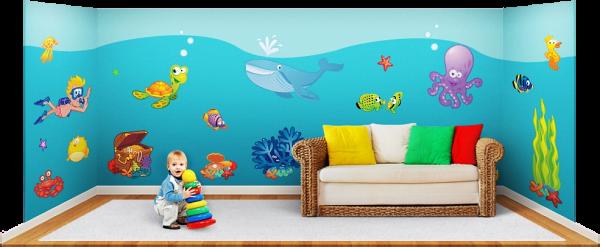 Wandsticker unterwasser fische tapetenwelt for Aquarium im kinderzimmer