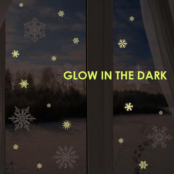 Wandsticker zarte Schneeflocken nachtleuchtend im Dunkeln