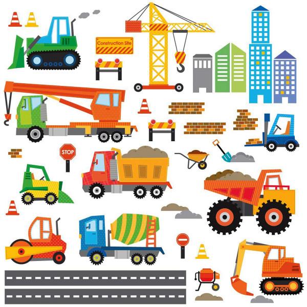 Wandsticker Baustelle Baufahrzeuge