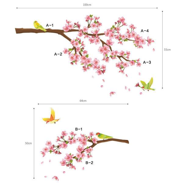 Wandsticker Singvögel auf Kirschblütenzweig