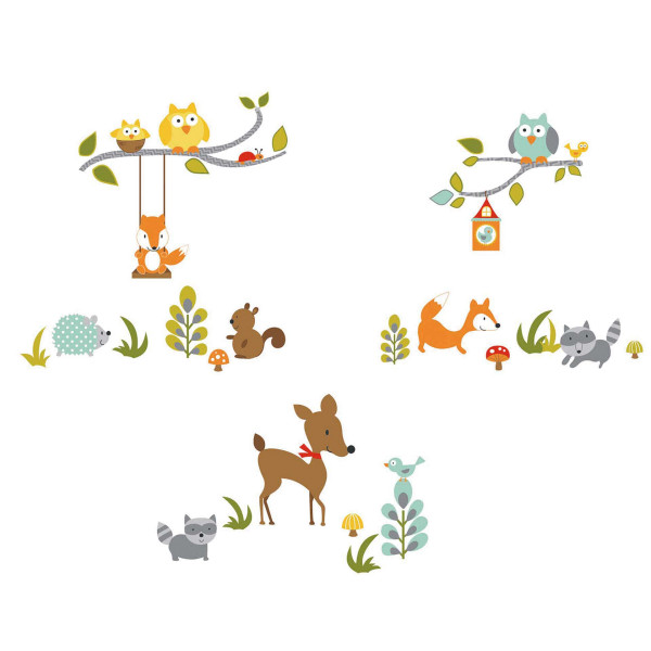 Wandsticker Fuchs Eule Waldtiere