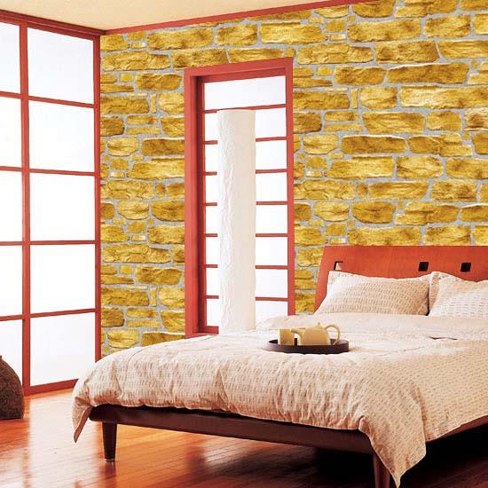 Selbstklebende Tapete Steinmauer Kiesel gelb Schlafzimmer