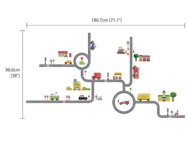 Wandsticker Autos Straßen Kreisverkehr Stadt