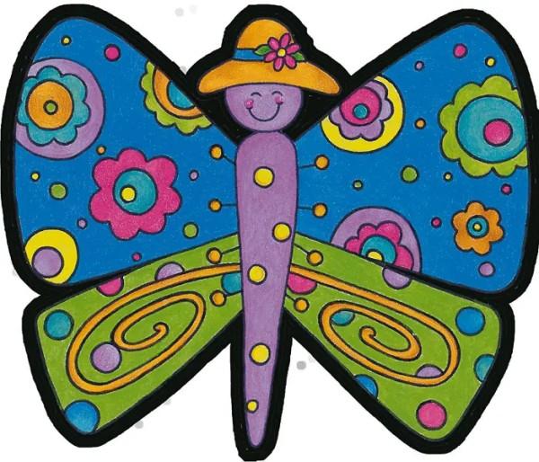 Wandtattoo Schmetterlinge bunte Blumen