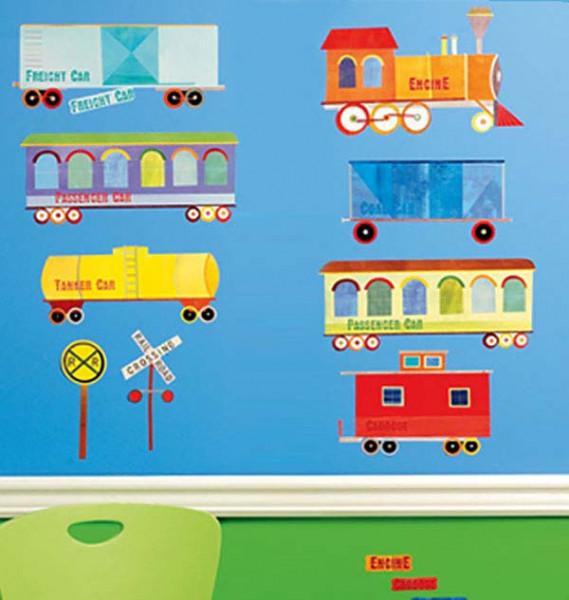 Wandsticker Wallplay Eisenbahn Waggons Zug Kinderzimmer