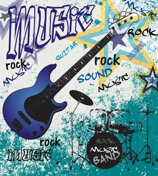 Vliestapete Blue Guitar Rock 225x250