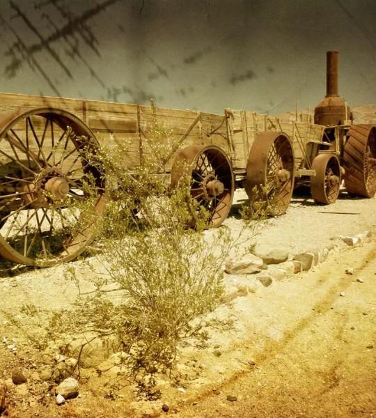 Vliestapete Waggon in der Wüste 225x250