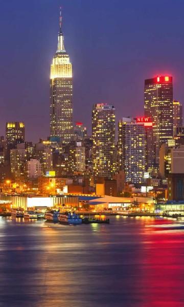 Vlies Fototapete Nacht in Manhattan 150x250