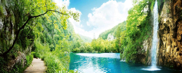 Panorama Vliestapete Wald Wasserfall 375x150
