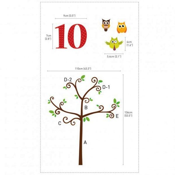 Wandsticker Zahlen Eulenbaum Maße