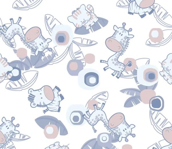 Vliestapete 3D-Optik Tierbabys blau